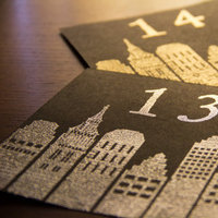 Reception, Flowers & Decor, black, silver, gold, City, Table, Number, Skyline, Embossed