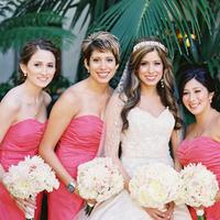 Bridesmaids, Bridesmaids Dresses, Fashion, ivory, gold, Coral, Marbella frank