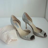Shoes, Fashion, white, yellow, silver, gold, Jimmy, Choo, Glitter, Toe, Peep, Pumps, Dorsay, Logan