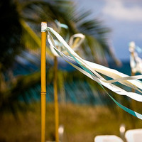 Ceremony, Flowers & Decor, blue, Beach, Aisle Decor, Beach Wedding Flowers & Decor, Streamers, Vow renewal