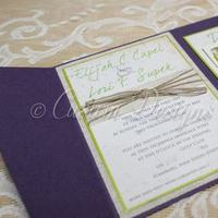 Stationery, purple, green, Rustic, Invitations, Chic