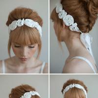Flowers, Hair, white, dress, Bridal, Jewelry, Headband, Rosette, Beauty, Headbands, Flowers & Decor, Fashion, Wedding Dresses, Flower Wedding Dresses