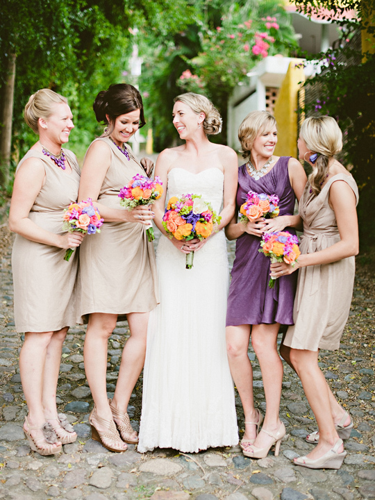 Bridesmaids, Bridesmaids Dresses, Destinations, Fashion, purple, Destination, Colorful, Beige, Dresses, Bouquets, Film, Sara jeremiah