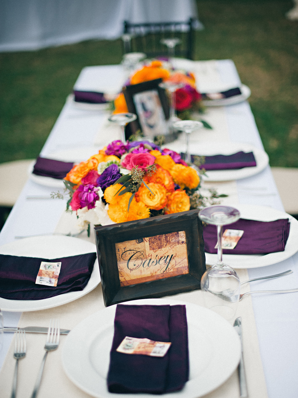Reception, Flowers & Decor, Destinations, Registry, pink, purple, Place Settings, Flowers, Table, Destination, Colorful, Beige, Napkins, Tablescape, Plates, Film, Marigold, Décor, Sara jeremiah