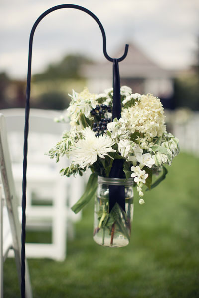 Ceremony, Flowers & Decor, white, black, Ceremony Flowers, Aisle Decor, Flowers, Aisle, Jar, Mason, Line, Chessie pasquale