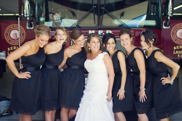 Bridesmaids, Bridesmaids Dresses, Fashion, white, black, Short, Dresses, Fire, Station, Chessie pasquale, Short Wedding Dresses