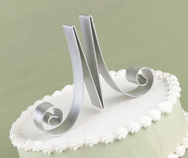 Cakes, silver, cake, Topper, Initial, Script