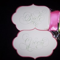 Reception, Flowers & Decor, pink, green, Bride, Groom, Chair, Signs