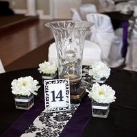 Reception, Flowers & Decor, white, purple, black, silver, Flowers, Table