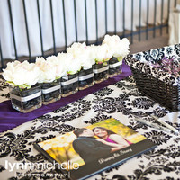 Reception, Flowers & Decor, white, purple, black, silver, Table, Book, Guest