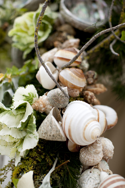 Flowers & Decor, Beach, Flowers, Beach Wedding Flowers & Decor, Shells, Seashells, Kale, Merryl marko