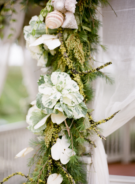 Flowers & Decor, Beach, Flowers, Beach Wedding Flowers & Decor, Shells, Seashells, Greenery, Garland, Kale, Merryl marko
