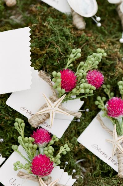 Flowers & Decor, Beach, Boutonnieres, Groomsmen, Shells, Starfish, Fuchsia, Merryl marko
