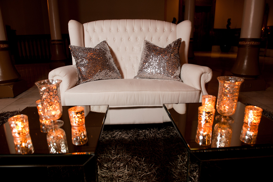 Candles, Chair, Lounge, Sparkle, Area, Glowing, Pillows, Metallic, Candlelight, Sophisticated, Amanda john