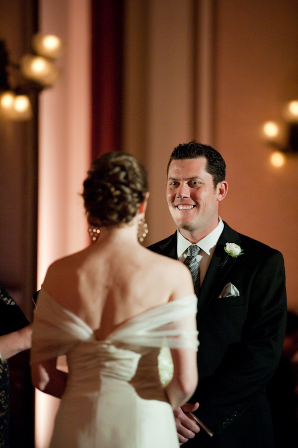 Ceremony, Flowers & Decor, Updo, Bride, Candles, Back, Couple, Tulle, Smiles, Sophisticated, Potrait, Amanda john, Shoulders, Groomcandlelight