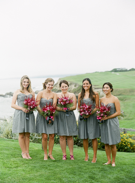Bridesmaids, Bridesmaids Dresses, Fashion, Grey, Grass, Fuchsia, Merryl marko