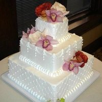 Reception, Flowers & Decor, Cakes, white, yellow, orange, pink, red, cake, Flowers
