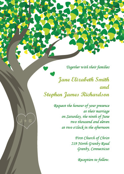 Stationery, Invitations, Romantic, Country, Trees