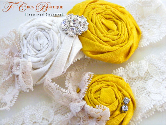 white, yellow, Garter