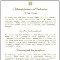 Wedding program, Acknowledgement