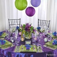 Reception, Flowers & Decor, purple, green