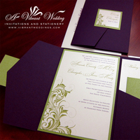 Stationery, white, purple, green, Invitations