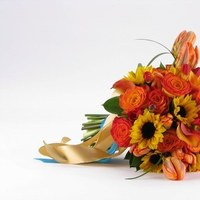 Flowers & Decor, yellow, orange, pink, Bride Bouquets, Bride, Flowers, Bouquet