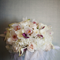 Beauty, ivory, Feathers, Roses, Bouquet, Hydrangea, Cymbidium, Asha bryson