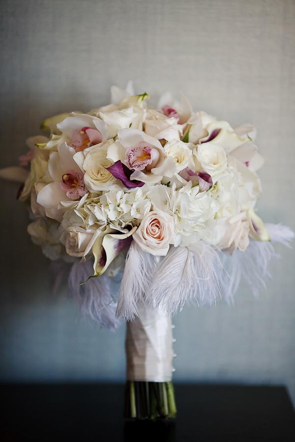 Beauty, ivory, Feathers, Roses, Bouquet, Hydrangea, Cymbidium, Asha bryson