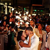 Reception, Flowers & Decor, Sparklers, Exit, Couple, Kissing, Audience, Asha bryson