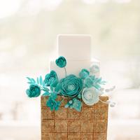 white, blue, Floral Wedding Cakes, Modern Wedding Cakes, Square Wedding Cakes