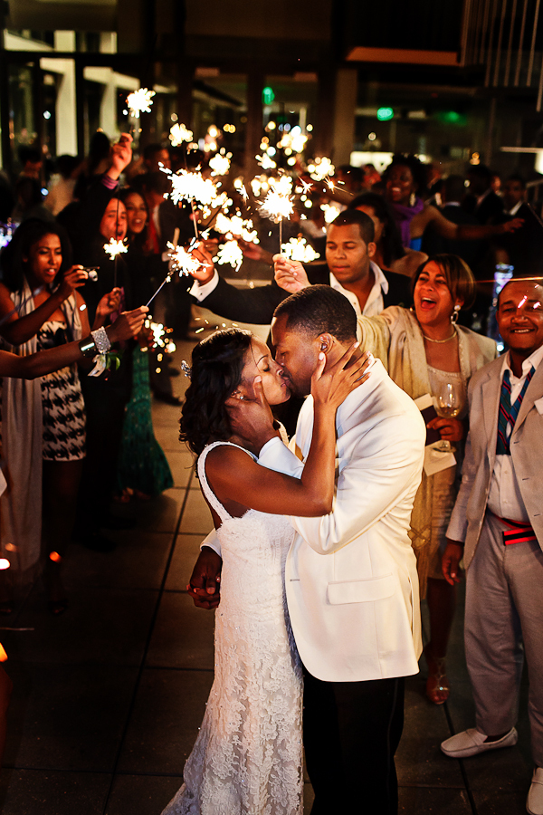Reception, Flowers & Decor, Sparklers, Exit, Couple, Kissing, Audience, Asha bryson