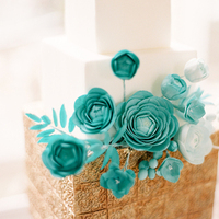Cakes, gold, cake, Modern, Modern Wedding Cakes, Square Wedding Cakes, Square, Teal, Turquoise, Contemporary, Aude gilles