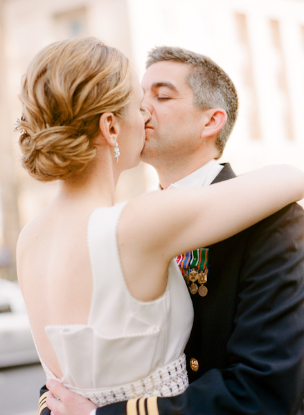 Updo, Bride, Groom, Low, Kiss, Couple, Do, Navy, Sara mark