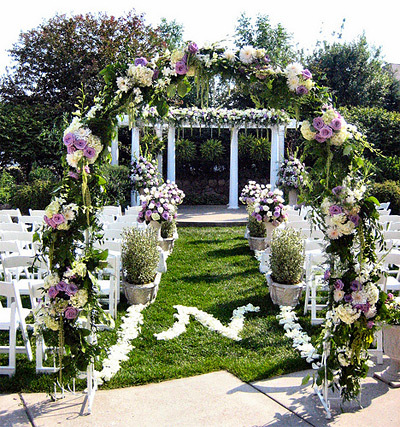 Ceremony, Flowers & Decor, white, purple, Ceremony Flowers, Flowers