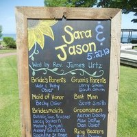 Ceremony, Flowers & Decor, Stationery, yellow, blue, Ceremony Programs, Program, Chalkboard