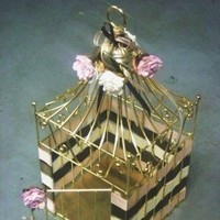 Flowers & Decor, Decor, gold, Cage, Bird, Card, Holder