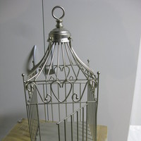 Flowers & Decor, Decor, ivory, silver, Cage, Bird, Champagne, Card, Holder