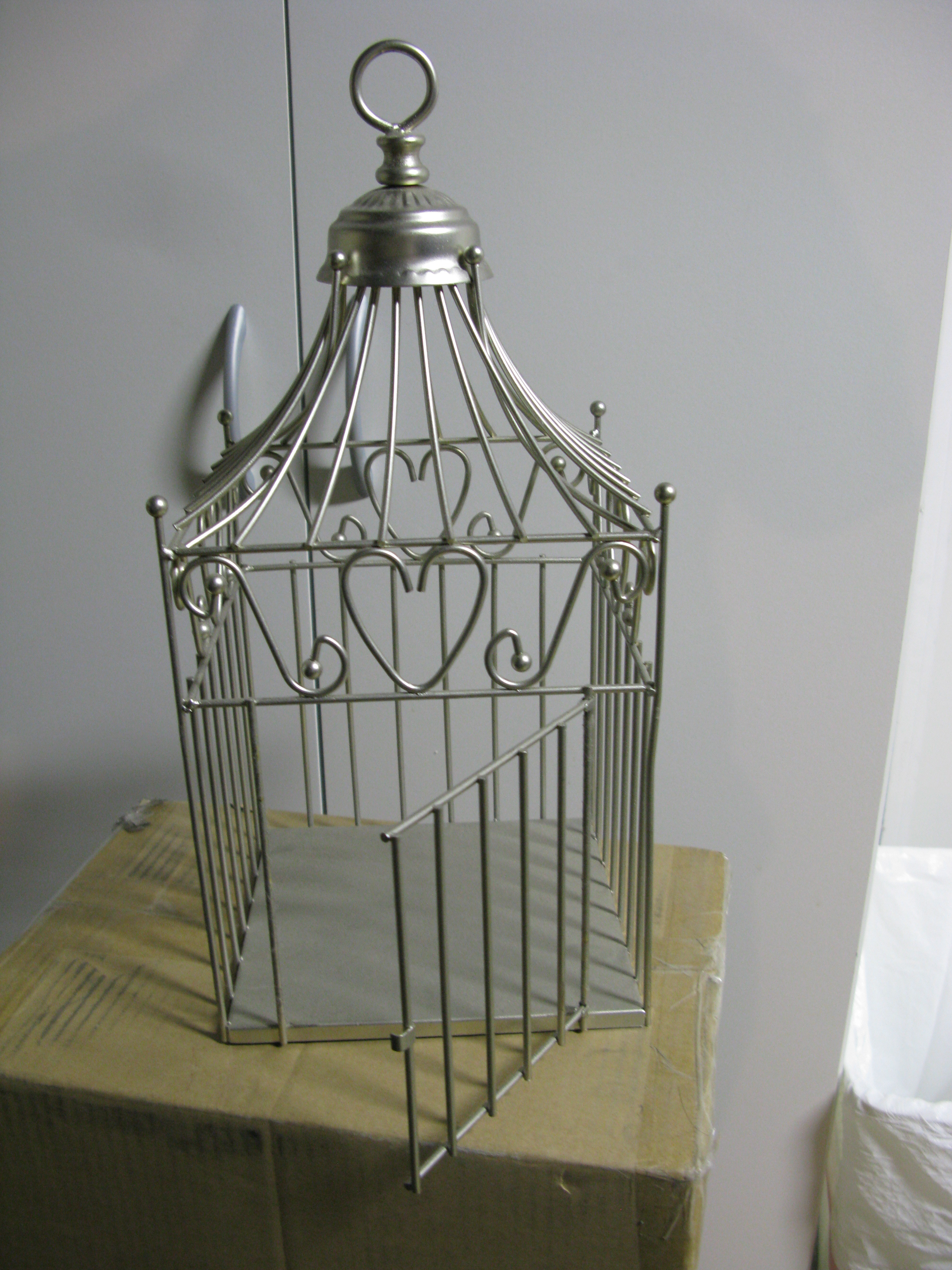 Flowers & Decor, Decor, silver, Cage, Bird, Card, Holder