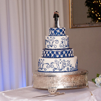 Cakes, white, blue, silver, cake