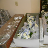 Flowers & Decor, white, blue, silver, Flowers