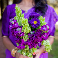 purple, Bouquet, Bridesmaid, Saree, Emily adam
