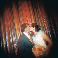 Reception, Flowers & Decor, orange, Bride, Groom, Kiss, Katie ben