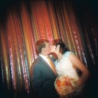 Reception, Flowers & Decor, orange, Bride, Groom, Kiss, Katie ben