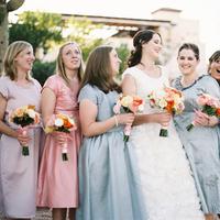 Bridesmaids, Bridesmaids Dresses, Fashion, pink, Grey, Colors, Bouquets, Katie ben