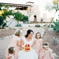Flower Girls, yellow, pink, red, Bride, Katie ben