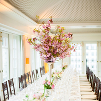 white, pink, Centerpieces, Table, Scape, Elizabeth andrew