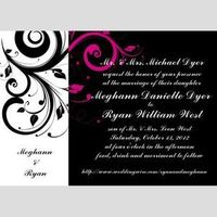 Stationery, white, pink, black, Invitations