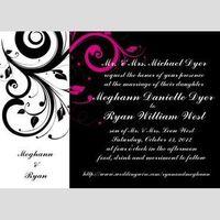 Stationery, white, pink, black, Invitations