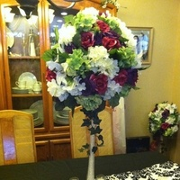 Reception, Flowers & Decor, white, pink, purple, black